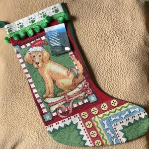 Other - Dog Christmas stocking woven new USA Golden
